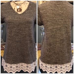 Bling 💎 Lace Knitted Gray Top Size Medium